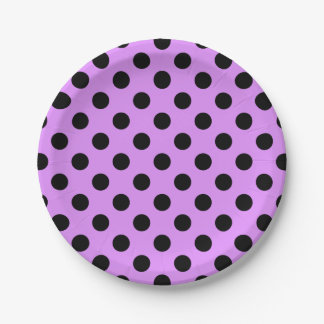 Black polka dots on lilac 7 inch paper plate
