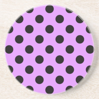 Black polka dots on lilac drink coaster