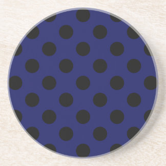 Black polka dots on navy blue beverage coaster