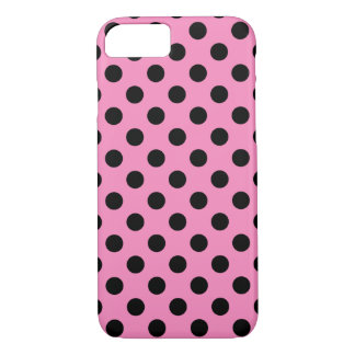 Black polka dots on pink iPhone 7 case