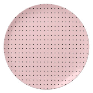 Black Polka Dots on Pink Party Plates