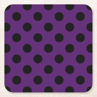 Black polka dots on plum purple square paper coaster