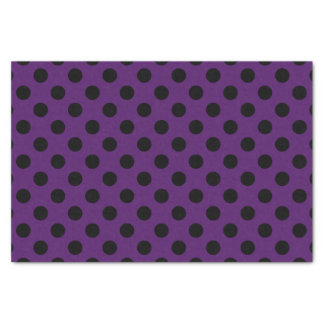 Black polka dots on plum purple tissue paper