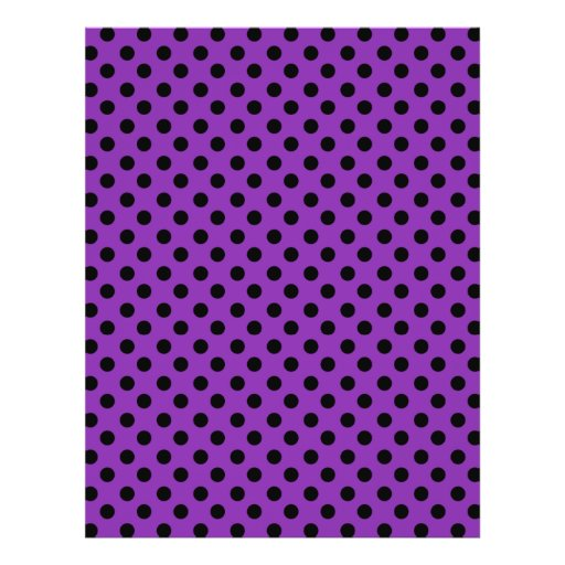 Black polka dots on purple background personalized flyer