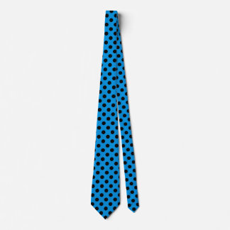 Black polka dots on sky blue tie