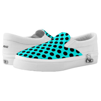 Black Polka Dots on Turquoise Slip On Canvas Shoes