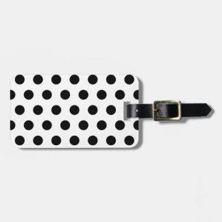 Black polka Dots On White Background Luggage Tag