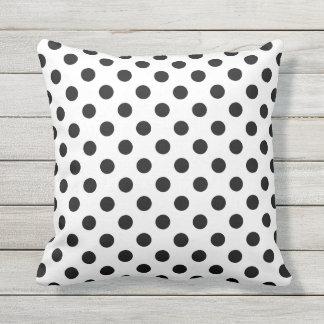 Black Polka Dots on White Background Throw Pillow