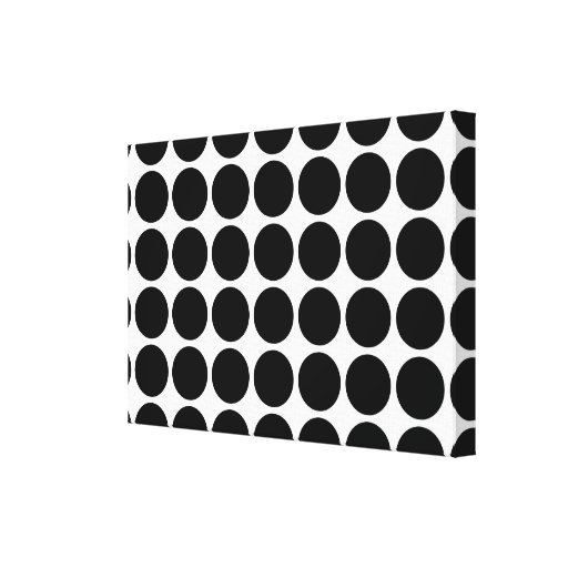 Black Polka Dots on White Gallery Wrap Canvas