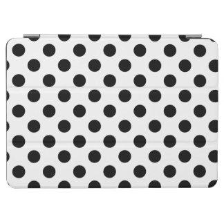 Black polka dots on white iPad air cover