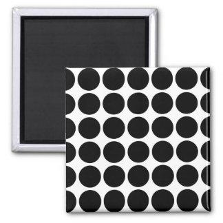 Black Polka Dots on White Magnet