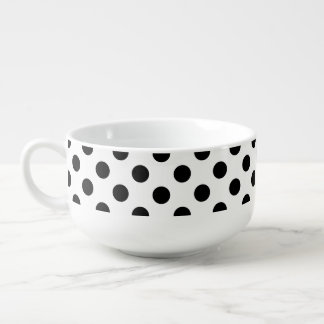 Black polka dots on white soup bowl with handle