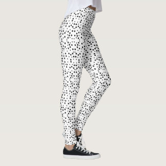 Black Polka Dots on White Stretch Leggings