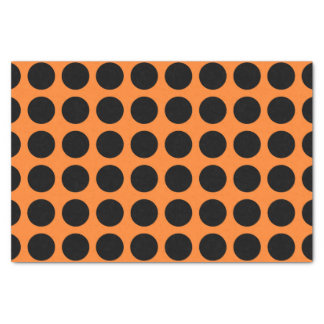 Black Polka Dots Orange Tissue Paper