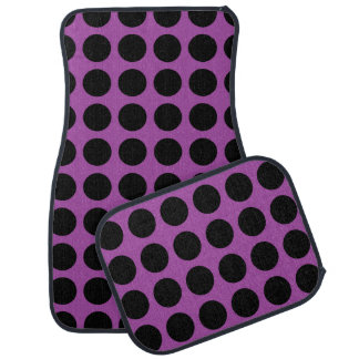 Black Polka Dots Purple Car Mat