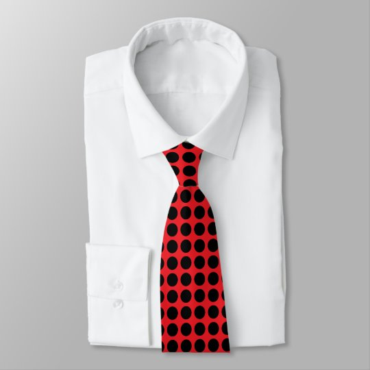 Black Polka Dots Red Tie