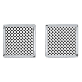 Black Polka Dots Silver Finish Cuff Links