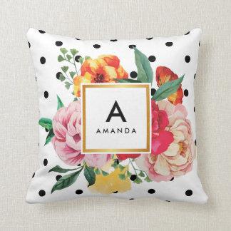 Black polka dots Watercolor Peony Flowers Monogram Cushion