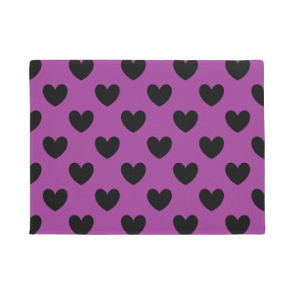 Black polka hearts on purple doormat