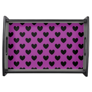 Black polka hearts on purple serving tray