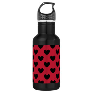 Black polka hearts on red 532 ml water bottle