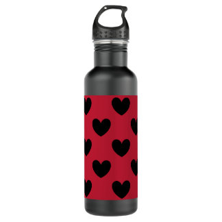 Black polka hearts on red 710 ml water bottle