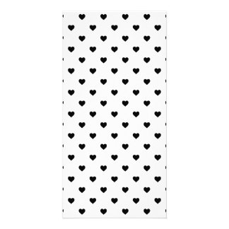 Black Polkadot Candy Hearts on White Personalized Photo Card