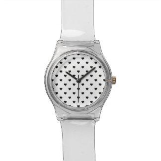 Black Polkadot Hearts on White Wristwatch