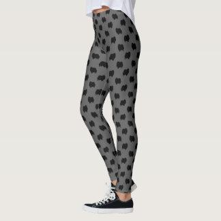 Black Pomeranian Silhouettes Pattern Leggings