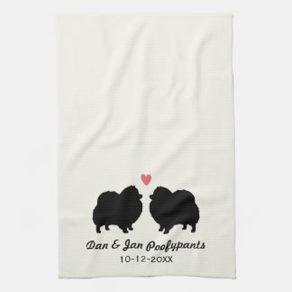Black Pomeranian Silhouettes with Heart and Text Tea Towel