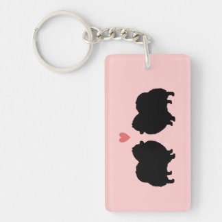 Black Pomeranian Silhouettes with Heart Key Ring