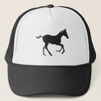 Black pony trucker hat