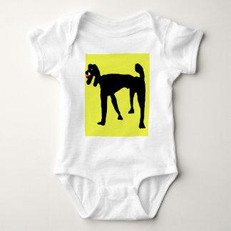 Black poodle baby bodysuit
