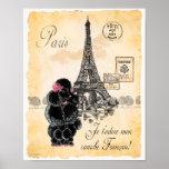 Black Poodle Eiffel Tower Paris Art Print