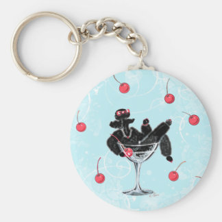 Black Poodle in Champagne Glass n ... - Customized Key Ring