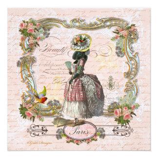 Black Poodle  in Marie Antoinette Costume Invitations