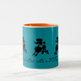 Black Poodle Lovers Two-Tone Coffee Mug