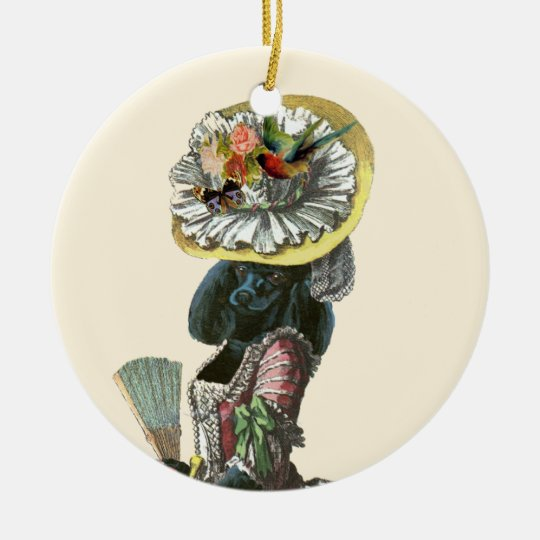 Black Poodle Marie Antoinette Christmas Ornament