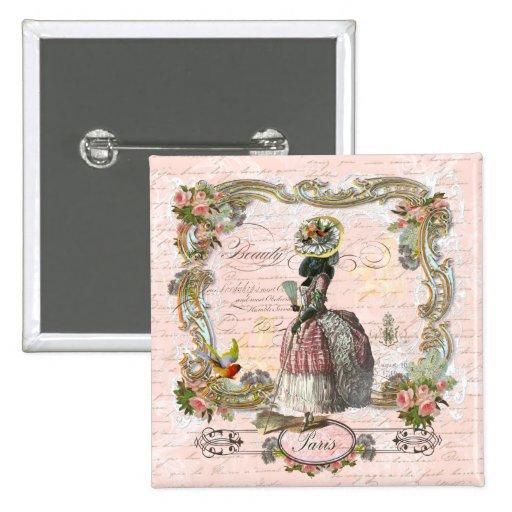 Black Poodle Marie Antoinette Pink Roses 15 Cm Square Badge
