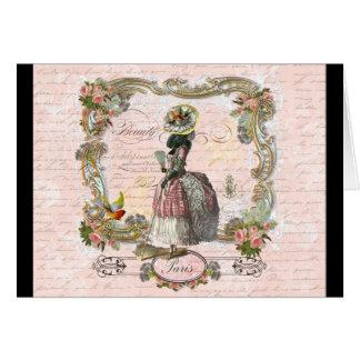 Black Poodle Marie Antoinette Pink Roses Cards