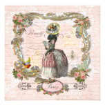 Black Poodle Marie Antoinette Pink Roses Invite