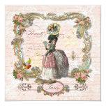 Black Poodle Marie Antoinette Pink Roses Invite 13 Cm X 13 Cm Square Invitation Card