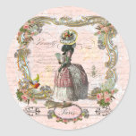 Black Poodle Marie Antoinette Pink Roses Round Stickers