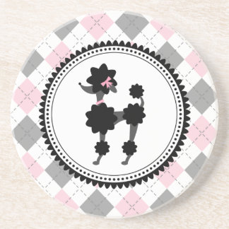 Black Poodle / Pink and Gray Argyle Coaster
