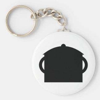 black pot basic round button key ring