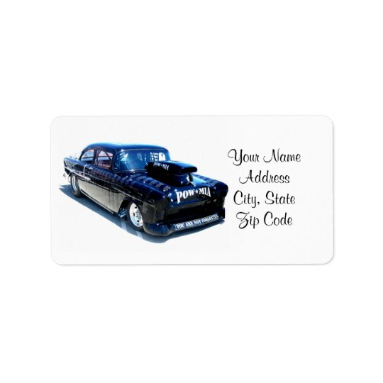 Black POW custom classic car Address Label
