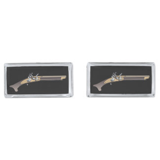 Black Powder Fishtail Pistol Silver Finish Cuff Links