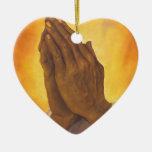 black praying hands ceramic heart decoration