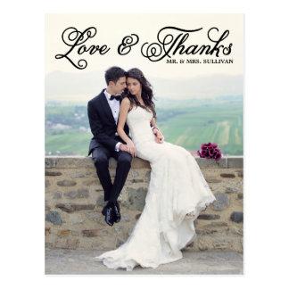 Black Pretty Script Wedding Thank You Postcard
