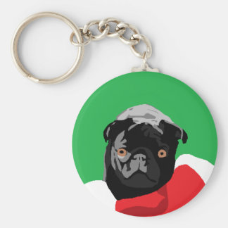 Black Pug Christmas Key Ring